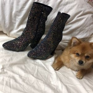 Black confetti high heel boots